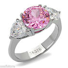 4.7ct Round Rose Pink CZ Stone Silver Stainless Steel Ladies Ring New
