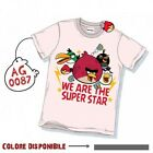 T-shirt Angry Birds Ragazzo Uomo Unisex Vintage SUPER STAR AGL087 Washed Style