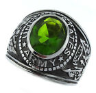 Green Peridot US Army Military Stainless Steel Mens Ring