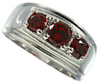 Mens Three Ruby Red CZ  Rhodium Plated Ring New