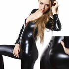 Fetish Wetlook Vinyl PVC Keyhole Zip Through Crotch Clubwear Catsuit Fancy Dress