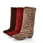NEW US 4-10 Fashion Leopard BOOTS Knee High Low Heel SHOES Faux suede Medium H29