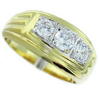 Mens 3 Simulated Diamond Two Tone 18kt Gold Plated Ring
