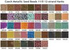 Czech 11/0 Metallic Seed Beads 12-strand Hank