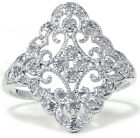 .35CT Vintage Style REAL Diamond Womens Art Deco Antique New Ring 10K White Gold