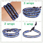 3 Size Choose Crystal Beads Handmade Leather Wrap Bracelet Woven
