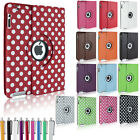 Leather 360 Degree Rotating Case Cover for iPad 2 3 & NEW iPad 4 with Sleep Wake