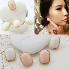 Hot New Lady Girl White Pink Rhinestone Gold Frame Rectangle Ear Stud Earrings