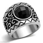 Black Round CZ Classic Wizard Silver Stainless Steel Mens Ring