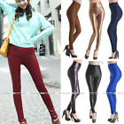 Women Sexy High Waist Leather Look Stretch Leggings Tights Pants S-L 12 Colors