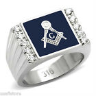 Mens Masonic Mason Blue Ten Stones Silver Color Stainless Steel Ring