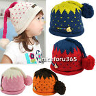 N4U8 Hot Strawberry With Tail Ball Lovely Earflap Knitted Children Baby Hat hot