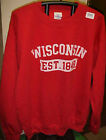 New WISCONSIN Est 1848 Red & White Sweatshirt Badgers Adult S M L & XL