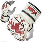MMA Grappling Gloves UFC Cage Boxing Fight Punch Glove Leather Blood Red/White