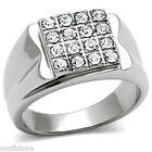 Sixteen Crystal Pave Silver Stainless Steel Mens Ring