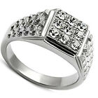 Mens Nine Bling Crystal Pave Silver Stainless Steel Ring