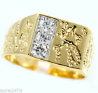 Mens Three Bling Tutone Nugget Gold Plated Ring