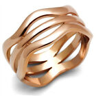Ladies Tryple Line Wave Rose Gold Plated Ring