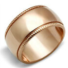 Rose Gold EP 11mm Unisex Ribbed Wedding Band Ring