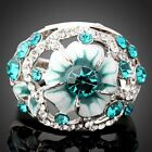 White Gold 18K Gp Aquamarine Green Clear Shining Crystals Flower Cute Rings
