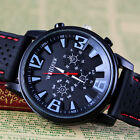 Hot New Titanium Casing Fashion Business Men Army Sport Silicone Rubber Watches