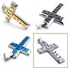 Stainless Steel  Wide Cross Mens Pendant Necklace (Black,Blue,Gold,Silver)