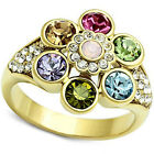 Multi-Color Crystal Stones Gold EP Ladies Flower Ring