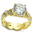 Ladies 2.76ct Intricate Clear Stones Gold EP Classic Engagement Ring