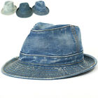 ililily New Mens Womens Denim Constructed Trilby Fedora Jean Gangster Hat 513
