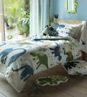 Kids Dino Single Duvet Quilt Cover Set, Matching Cushion, Rug, Throw & Curtains
