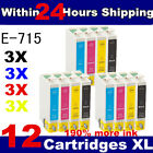 12 COMPATIBLE INK CARTRIDGES FOR EPSON STYLUS PRINTER ( 3 FULL SETS )