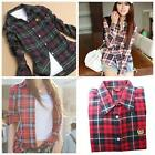 Fashion Colorised Women Casual Lapel Shirt Plaid&Check Flannel Shirts Top Blouse
