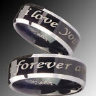 His & Hers Tungsten Black Two Tone I love you forever and ever Ring Set
