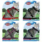 Velvet Cat Harness And Lead Set Blue Red Purple Black 4191 Trixie Fabric