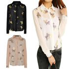 Chic Womens OL See Through Butterfly Print Long Sleeve Chiffon Shirt Tops Blouse