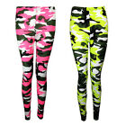 NEW NEON PINK YELLOW CAMOUFLAGE PRINT LONG LEGGINGS SIZE 8-20