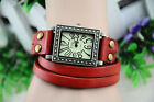 1PCS Antiqued Bronze Rectangle Watch  Double Leather Wrap Bracelet #22861-#22864