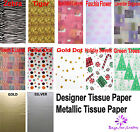 """5 LARGE Sheets Tissue Paper 20"""" x 30"""" PRINTED / GOLD / SILVER  Choice  450x700mm"""