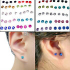 Womens 20 Pairs 5Mm Clear/Multicolor Crystal Allergy Free Ear Studs Earrings #B1