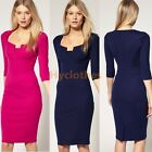 Women's formal EURO Career contrast  OL Party Pinup Evening Pencil Dress D564