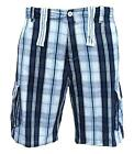 Soul Star Men's Twill 311 Combat Cargo Casual Check Shorts navy/white 1877