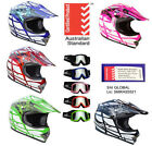 KIDS YOUTH MOTOCROSS HELMET CHILD DIRT BIKE PEEWEE ATV QUAD BMX S M L + GOGGLES