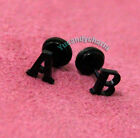 Personalized A TO Z Alphabet Letter 26 Initial Stud Earring Stainless Steel BLK