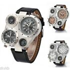 OULM02 Men's Multi Time-zones 2 Dials Leather Analog Military Sports Wrist Watch