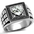 Mens Square Cut Crystal Stone Silver Stainless Steel Ring
