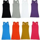 Sexy Women Girl Plain Spaghetti Racer Back Long T-Shirt Tank Top Cami Vest Dress