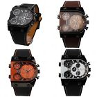 OULM Oversize Multi TimeZones 3 Dials Men Sports Leather Analog Wrist Watch OL04