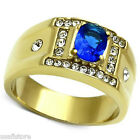Mens Oval Shape Montana Blue Stone 18kt GP Stainless Steel Ring