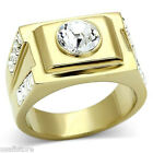 Mens 8 mm Round Clear Crystal Stone 18kt GP Stainless Steel Ring
