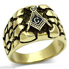 Mens Masonic Mason Logo Gold Plated Stainless Steel Ring 9B